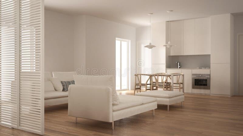 Sala de estar limpia moderna con la cocina y mesa de comedor, sofá, taburete y sillón, diseño interior blanco mínimo fotografía de archivo libre de regalías