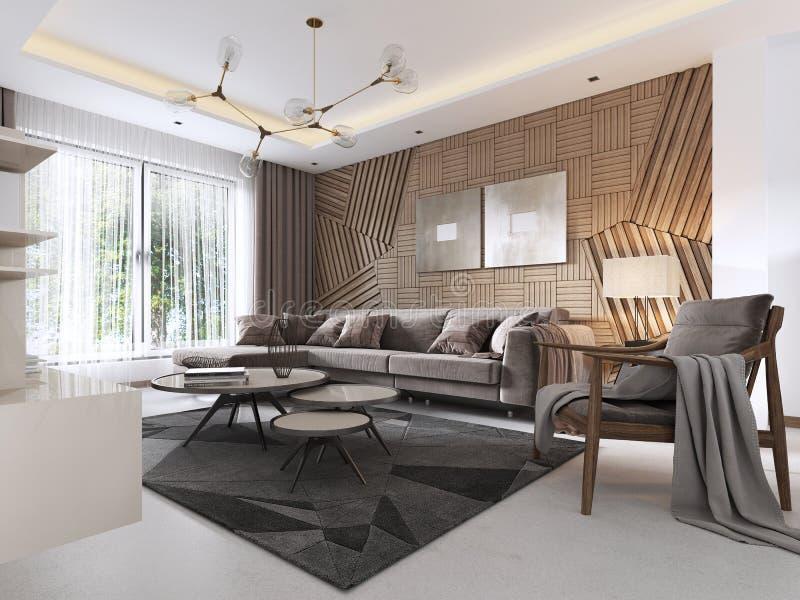 Sala de estar lujosa en estilo contemporáneo con el panel decorativo de madera en la pared Apartamento-estudio con un sofá y una  stock de ilustración