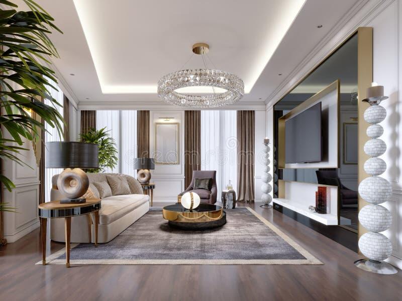 Sala de estar lujosa en estilo moderno con el sofá, butaca, muebles del diseñador, soporte de la TV, palmatoria decorativa grande libre illustration