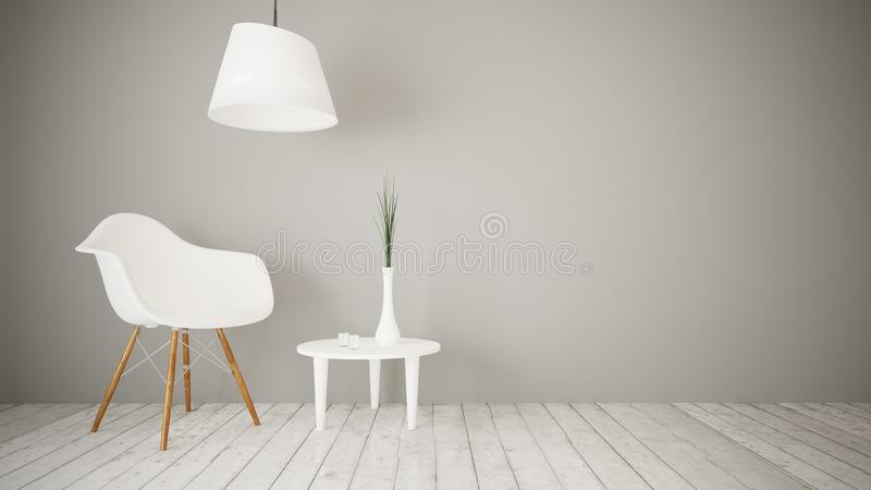 sala de estar mínima 3d ilustración del vector