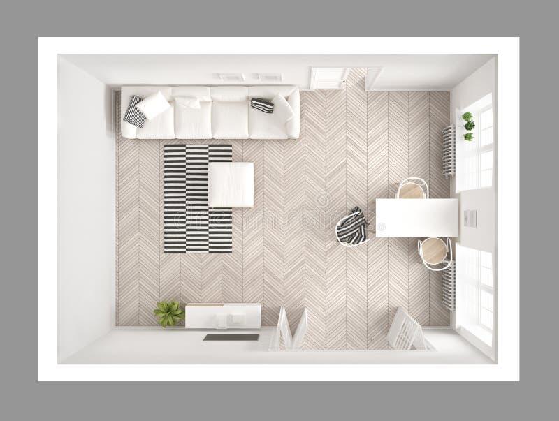 Sala de estar minimalista brillante con el sofá y la mesa de comedor, scandi stock de ilustración
