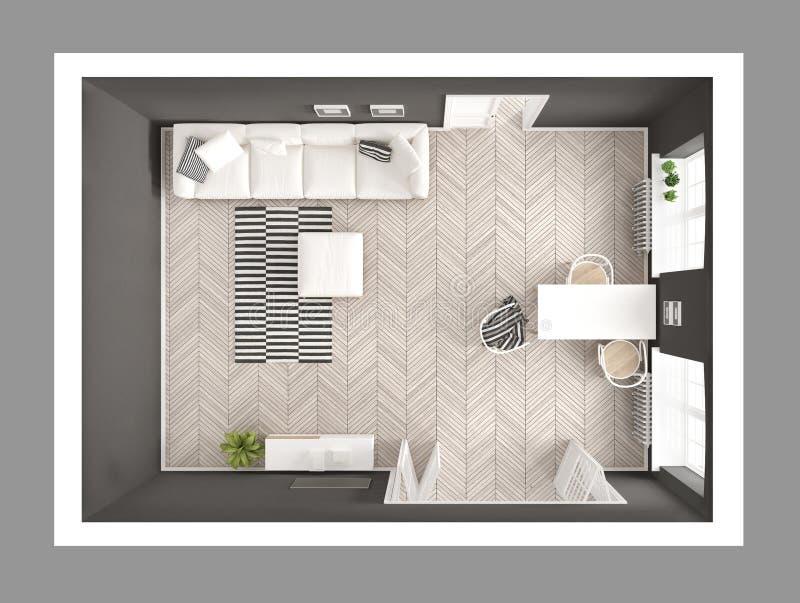 Sala de estar minimalista brillante con el sofá y la mesa de comedor, scandi ilustración del vector