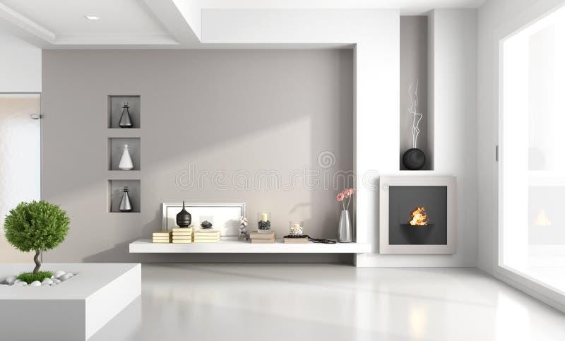 Sala de estar minimalista con la chimenea stock de ilustración