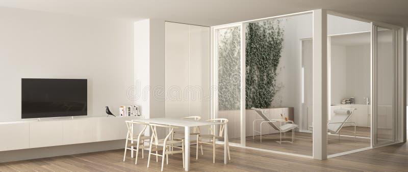Sala de estar minimalista con la mesa de comedor, las ventanas grandes en terraza del balcón con la butaca del salón y la cocina  ilustración del vector