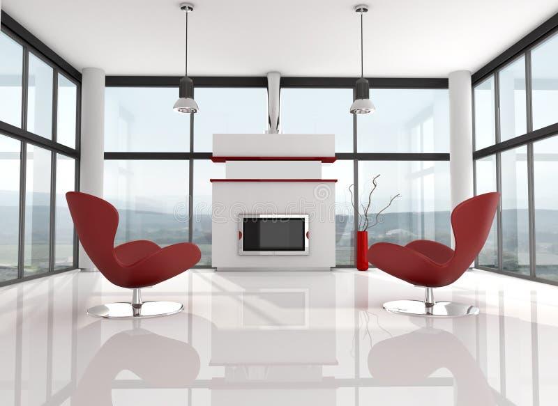 Sala de estar minimalista do lwhite ilustração stock