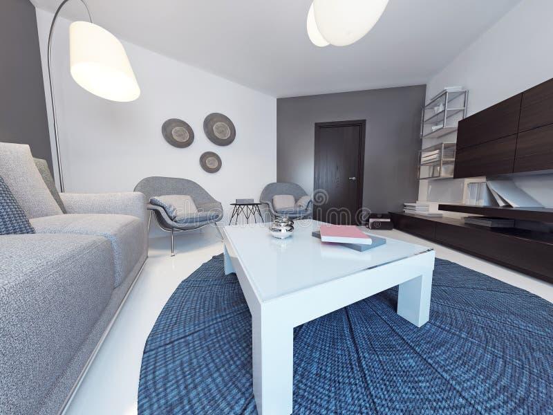 Sala de estar minimalista en hogar de lujo libre illustration