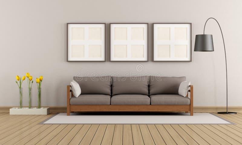Sala de estar moderna bege e marrom ilustração do vetor