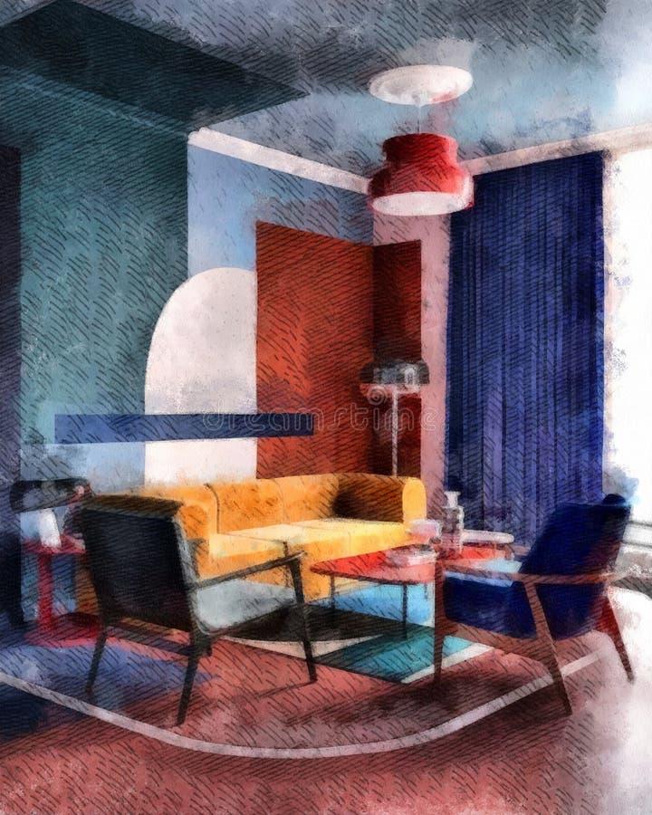 Sala de estar moderna con el sofá acogedor amarillo y el CCB azul de madera del papel pintado de la pintura de la acuarela del di ilustración del vector