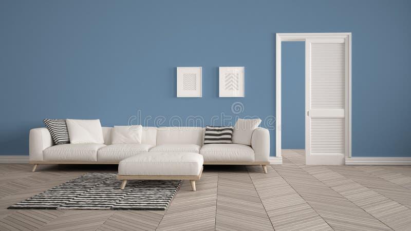 Sala de estar moderna con el sofá y la alfombra blancos, fondo azul de la pared con la puerta abierta, entarimado del herrigbone, stock de ilustración