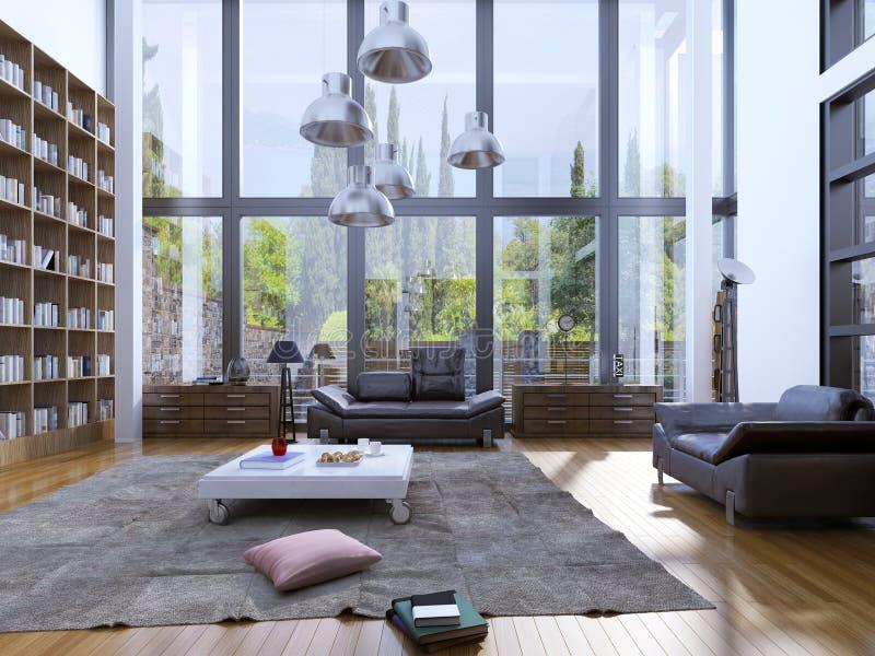 Sala de estar moderna con el suelo de madera fotografía de archivo