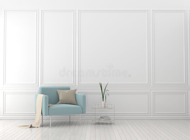 Sala de estar moderna con la butaca Estilo escandinavo de interior foto de archivo libre de regalías
