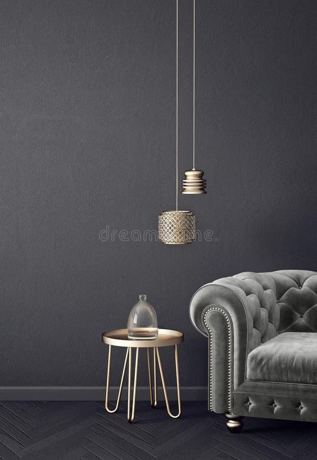 Sala de estar moderna con la butaca y la lámpara grises muebles escandinavos del diseño interior ilustración del vector