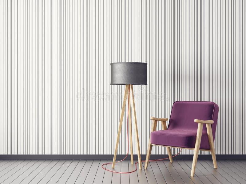 Sala de estar moderna con la butaca y la lámpara muebles escandinavos del diseño interior stock de ilustración