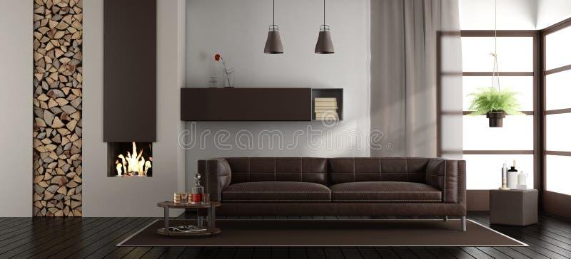 Sala de estar moderna con la chimenea ilustración del vector