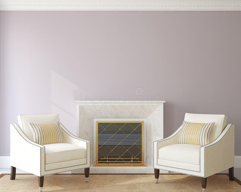 Sala de estar moderna con la chimenea stock de ilustración