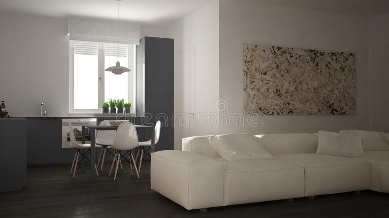 Sala de estar moderna con la cocina en un diseño interior abierto acogedor del apartamento del espacio, blanca y gris de la arqui fotos de archivo