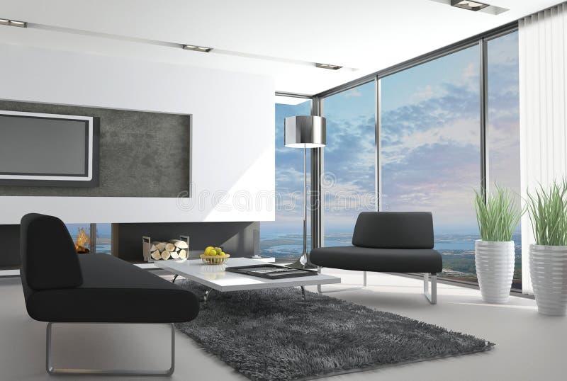 Sala de estar moderna con la opinión del paisaje stock de ilustración