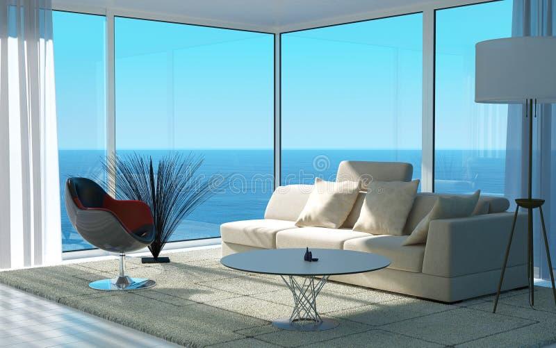 Sala de estar moderna con la opinión del paisaje marino   Interior del desván ilustración del vector