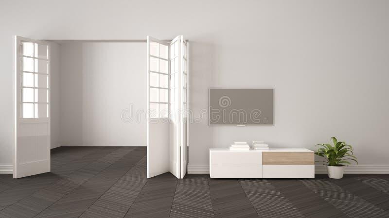 Sala de estar moderna con los muebles y TV blancos, fondo de la pared en blanco con la puerta abierta, entarimado del herrigbone, ilustración del vector
