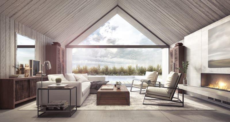 Sala de estar moderna con mirada en patio trasero con la piscina y el jardín ilustración del vector