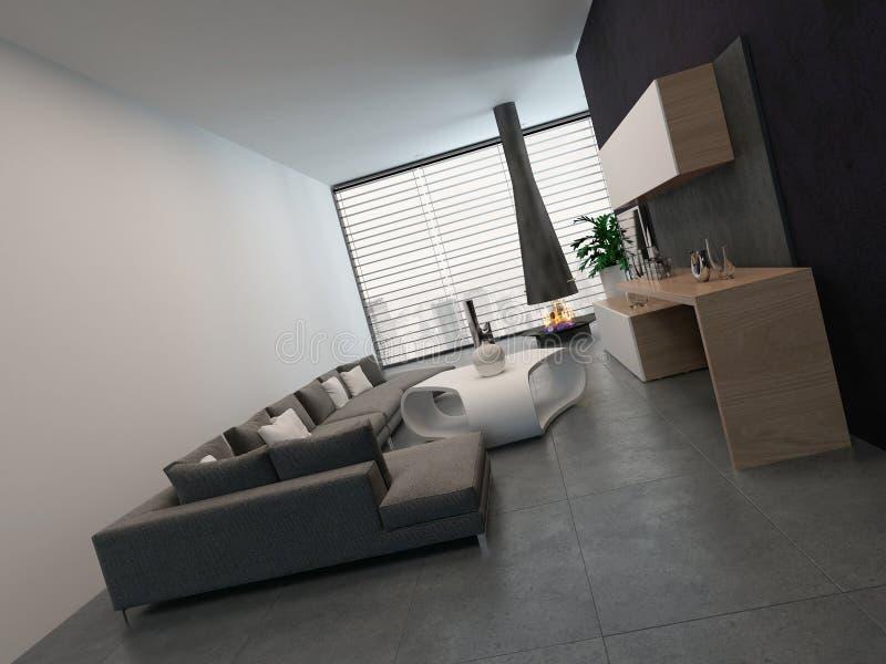 Sala De Estar Moderna Con Muebles Y La Chimenea Agradables Stock de ...