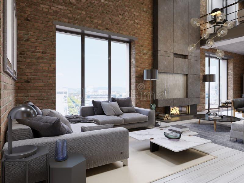 Sala de estar moderna del apartamento del desván del vintage stock de ilustración