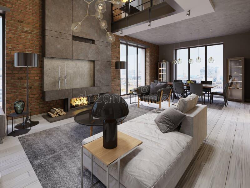 Sala de estar moderna del apartamento del desván del vintage ilustración del vector