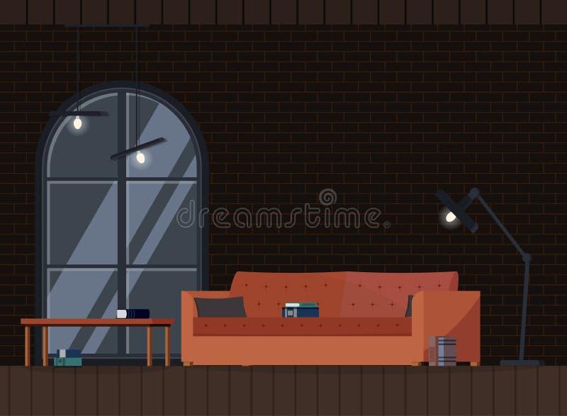 Sala de estar moderna del desván del diseño interior industrial del fondo stock de ilustración
