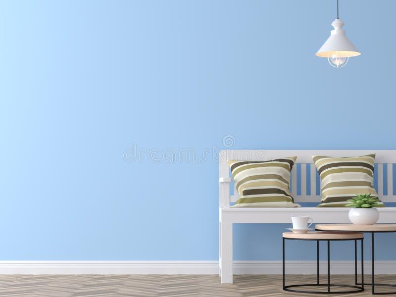 Sala de estar moderna del vintage con la representación azul de la pared 3d ilustración del vector