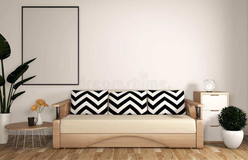 Sala de estar moderna del zen ascendente falso con el sofá, el marco, el piso de madera y el estilo blanco del zen de la pared re ilustración del vector