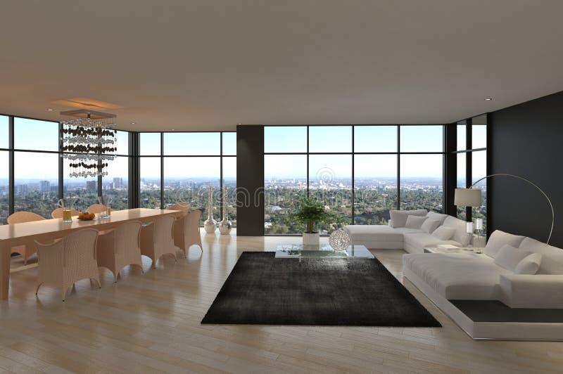 Sala de estar moderna impresionante del desván | Interior de la arquitectura ilustración del vector