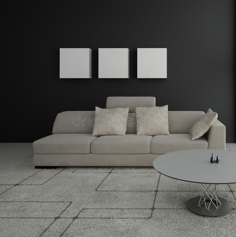 Sala de estar moderna   Interior de la arquitectura stock de ilustración