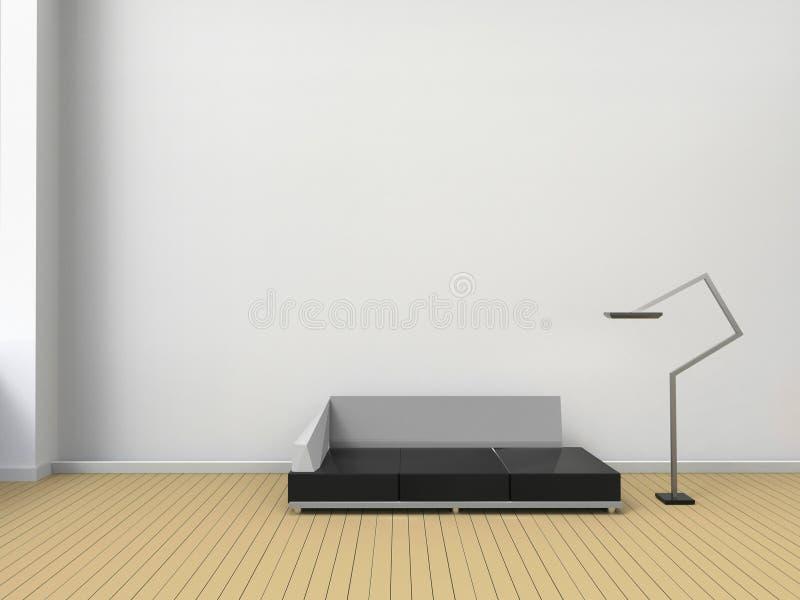 Sala de estar moderna y sillas contemporáneas en estilo mínimo de la pared blanca stock de ilustración