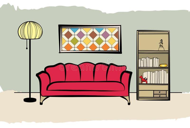 Sala De Estar Muebles Interiores Con El Sofá, Lámpara De Pie ...