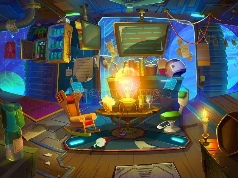 Sala de estar para guardas florestais do espaço no espaço com estilo fantástico, realístico e futurista ilustração do vetor