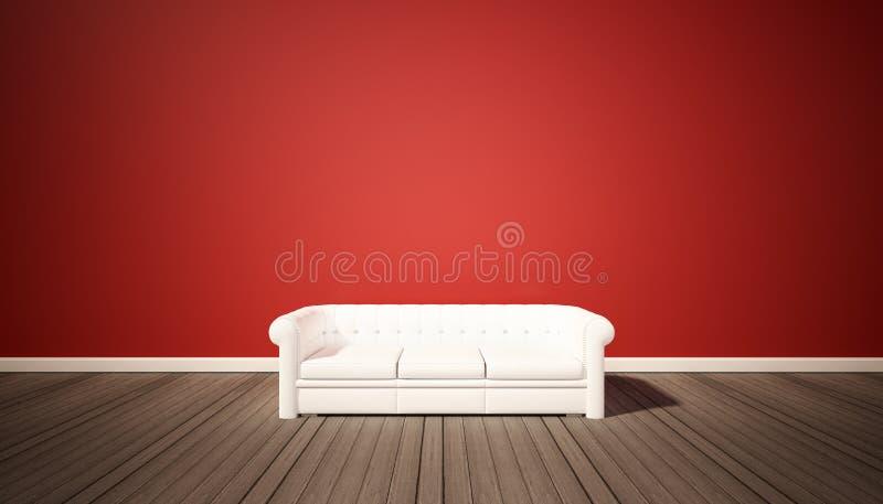 Download Sala De Estar, Pared Roja Y Piso De Madera Oscuro Con El Sofá Blanco Foto de archivo - Imagen de fondo, sofá: 64203530