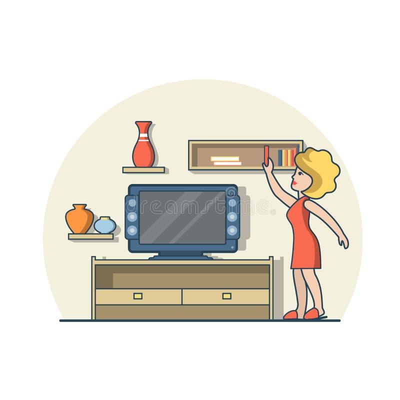 Sala de estar plana linear de la mujer cerca del estante del aparato de TV libre illustration