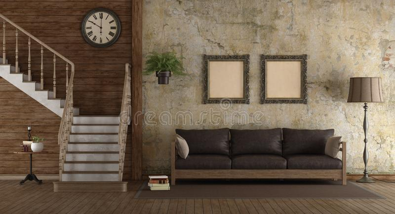 Sala de estar retra con la escalera de madera ilustración del vector