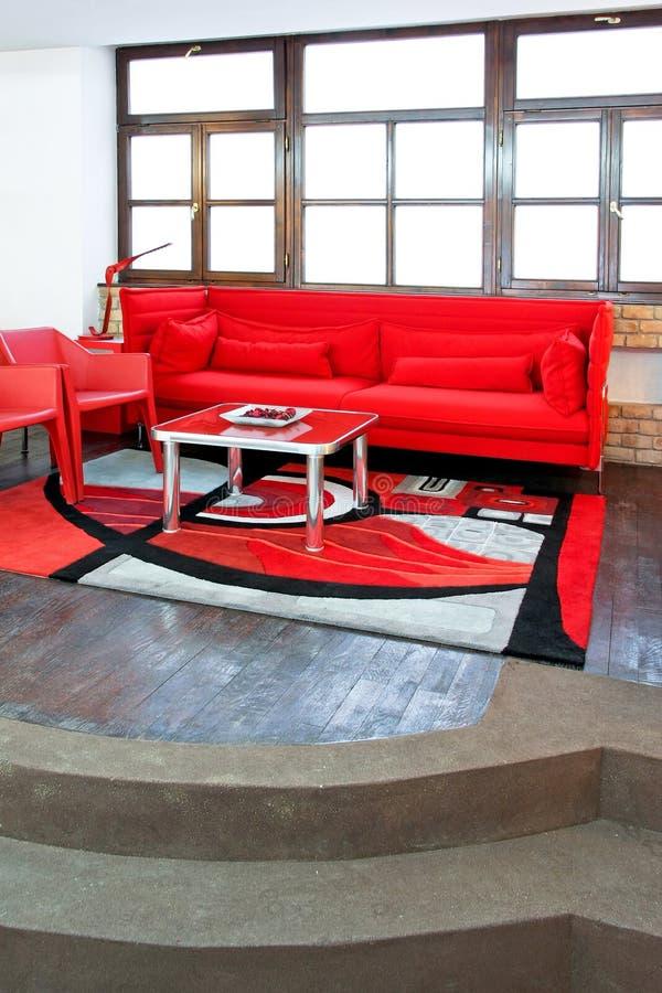 Sala de estar roja foto de archivo