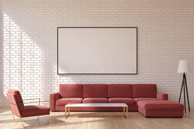 Sala de estar roja, delantera stock de ilustración