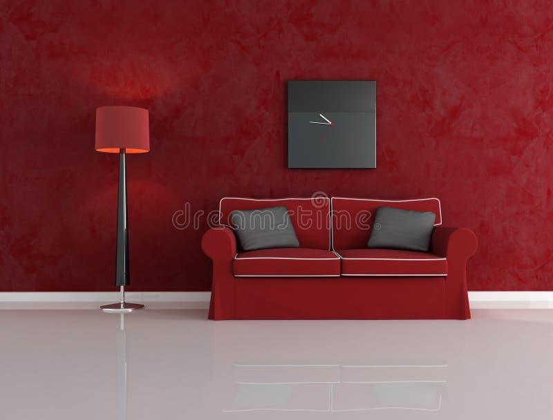 Sala de estar roja y negra ilustración del vector