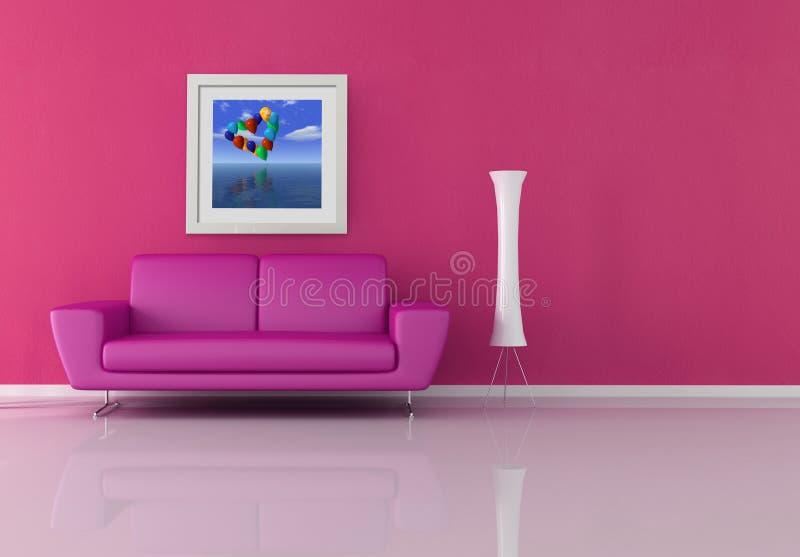 Sala de estar rosada stock de ilustración