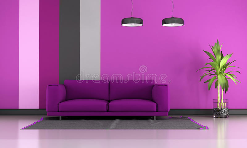 Sala de estar roxa ilustração royalty free