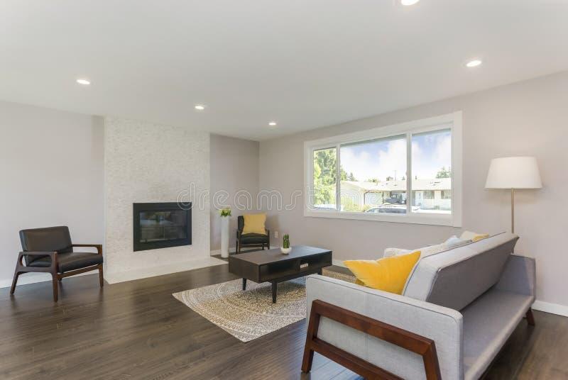 Sala de estar simple con todo elegante con la chimenea de piedra foto de archivo