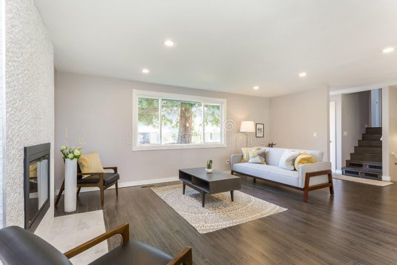 Sala de estar simple con todo elegante con la chimenea de piedra imagen de archivo libre de regalías