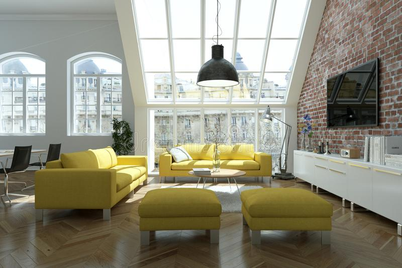 Sala de estar skandinavian brillante moderna del diseño interior con los sofás amarillos stock de ilustración