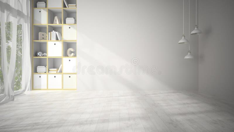 Sala de estar vacía con la representación blanca del piso de entarimado 3D imagen de archivo libre de regalías