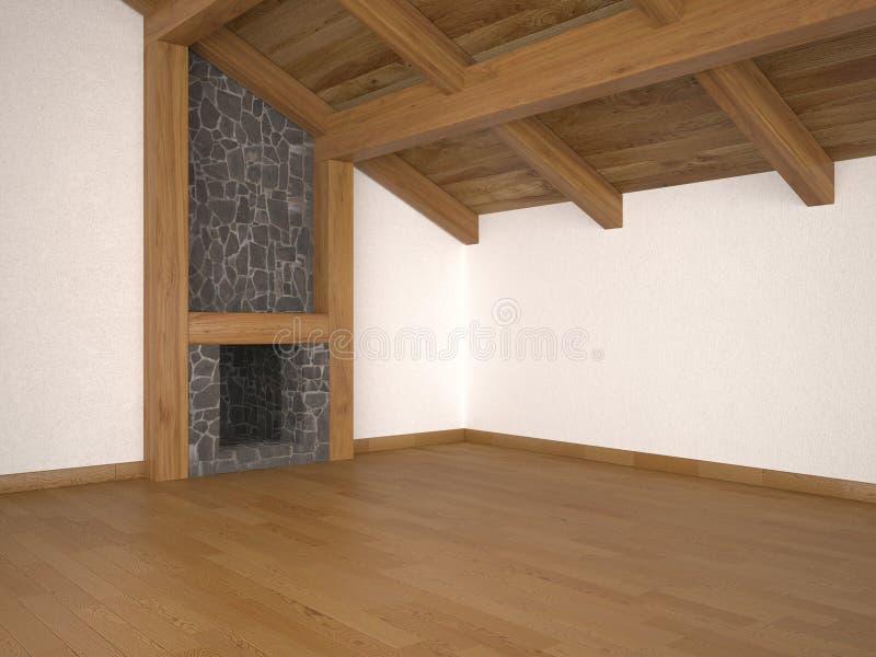 Sala de estar vacía con las vigas de la chimenea y de azotea ilustración del vector