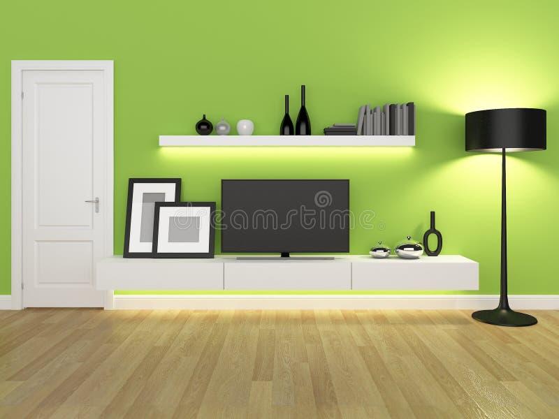 Sala de estar verde con el soporte y el estante para libros de la TV ilustración del vector