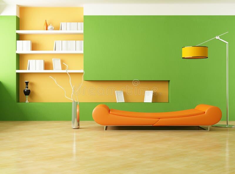 Sala de estar verde e alaranjada ilustração stock